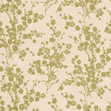 Avocado Floral Drapery and Upholstery Fabric by Vervain