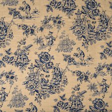 Indigo Print Pattern Drapery and Upholstery Fabric by Trend