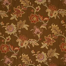 Coffee Embroidery Drapery and Upholstery Fabric by Trend