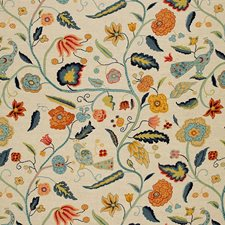 Apricot/Teal Drapery and Upholstery Fabric by Schumacher