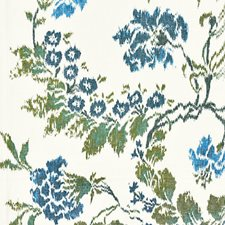 Blues On Ivory Drapery and Upholstery Fabric by Scalamandre