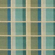 Aqua/Green Plaid Drapery and Upholstery Fabric by Highland Court
