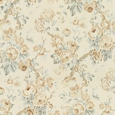 Beige/Aqua Botanical Drapery and Upholstery Fabric by Lee Jofa