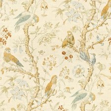 Gold/Lake Print Drapery and Upholstery Fabric by Lee Jofa