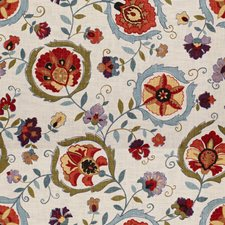 Clay/Blue Botanical Drapery and Upholstery Fabric by Lee Jofa