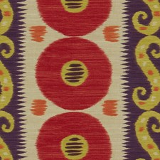 Ruby/Plum Ikat Drapery and Upholstery Fabric by Lee Jofa