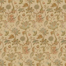 Clay/Teal Jacobeans Drapery and Upholstery Fabric by Lee Jofa