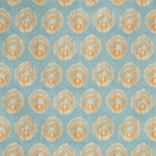 Aqua/Melon Geometric Drapery and Upholstery Fabric by Lee Jofa