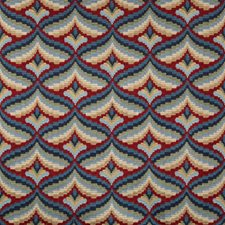 Red/Blue Geometric Drapery and Upholstery Fabric by Lee Jofa
