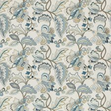 Blue/Gold Botanical Drapery and Upholstery Fabric by Lee Jofa