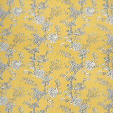 Amb/Navy Botanical Drapery and Upholstery Fabric by Lee Jofa
