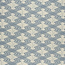 Blue/Ecru Ethnic Drapery and Upholstery Fabric by Lee Jofa