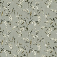 Pewter Floral Drapery and Upholstery Fabric by Trend