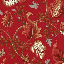 Tomato and Brass Drapery and Upholstery Fabric by Schumacher