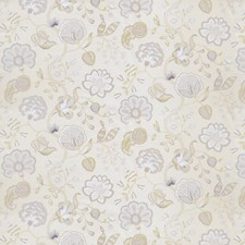 Soft Grey Floral Drapery and Upholstery Fabric by Fabricut