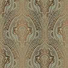 Brown/Light Blue Damask Drapery and Upholstery Fabric by Kravet