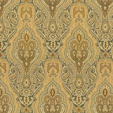 Blue/Brown Damask Drapery and Upholstery Fabric by Kravet