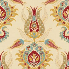 Pink/Beige/Blue Damask Drapery and Upholstery Fabric by Kravet