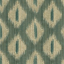 Green/Blue/White Ikat Drapery and Upholstery Fabric by Kravet
