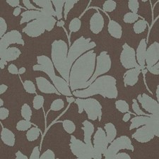 Aqua/Cocoa Floral Medium Drapery and Upholstery Fabric by Duralee