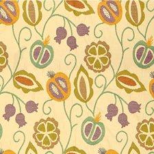 Ivory/Lavender/Light Blue Botanical Drapery and Upholstery Fabric by Kravet