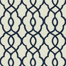 Ivory/Indigo Lattice Drapery and Upholstery Fabric by Kravet