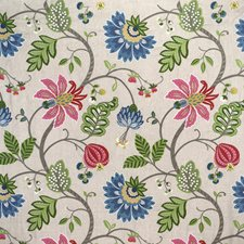 Green/Pink/Blue Botanical Drapery and Upholstery Fabric by Kravet