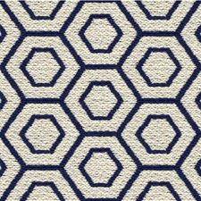 Indigo/Beige Geometric Drapery and Upholstery Fabric by Kravet