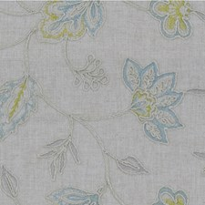 Beige/Light Blue/Gold Botanical Drapery and Upholstery Fabric by Kravet