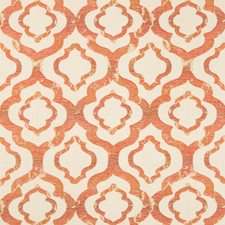 Orange/Beige Geometric Drapery and Upholstery Fabric by Kravet