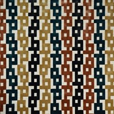 Clay/Teal Geometric Drapery and Upholstery Fabric by Kravet