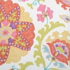 Tangerine Floral Large Drapery and Upholstery Fabric by Duralee