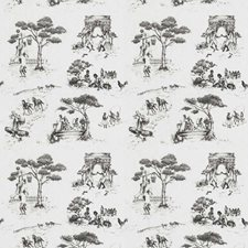 Black On White Novelty Drapery and Upholstery Fabric by S. Harris