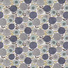 Aqua Dream Floral Drapery and Upholstery Fabric by Fabricut
