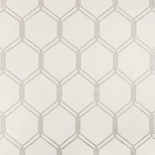 White/Silver/Beige Geometric Drapery and Upholstery Fabric by Kravet