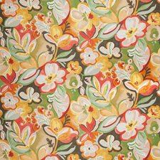 Papaya Floral Drapery and Upholstery Fabric by Vervain