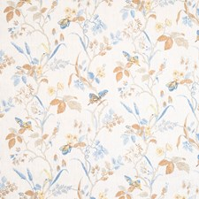 Blue Floral Drapery and Upholstery Fabric by Vervain