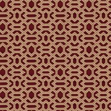 Claret Geometric Drapery and Upholstery Fabric by Fabricut