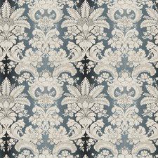 Indigo Damask Drapery and Upholstery Fabric by Stroheim