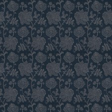 Indigo Floral Drapery and Upholstery Fabric by Vervain