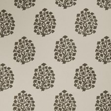 Dove Gray Leaves Drapery and Upholstery Fabric by Trend