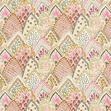 Pink/amp/Leaf Drapery and Upholstery Fabric by Schumacher