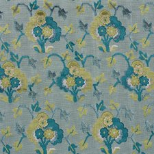 Peacock/amp/Celadon Drapery and Upholstery Fabric by Schumacher