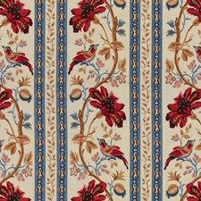 Red/Blue Asian Drapery and Upholstery Fabric by Brunschwig & Fils