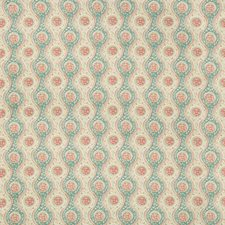 Teal/Rose Ethnic Drapery and Upholstery Fabric by Brunschwig & Fils