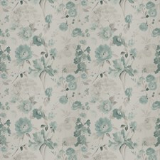 Aqua Floral Drapery and Upholstery Fabric by Vervain