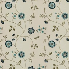 Navy Ivory Embroidery Drapery and Upholstery Fabric by Trend