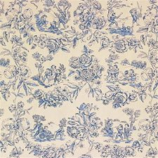 Blue Toile Drapery and Upholstery Fabric by G P & J Baker