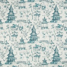 White/Blue Asian Drapery and Upholstery Fabric by Kravet