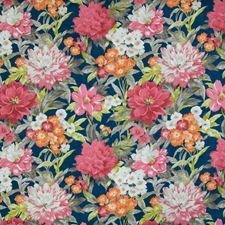 Ultramarine Floral Drapery and Upholstery Fabric by Greenhouse